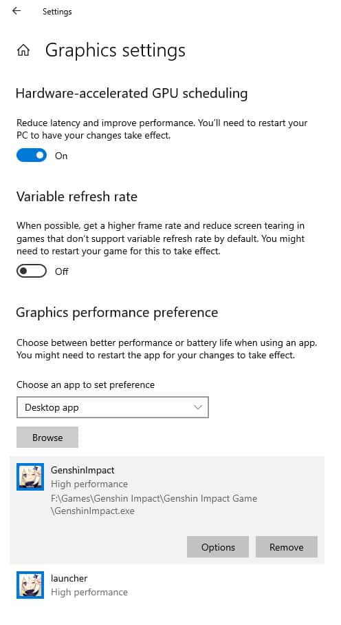Genshin Impact Windows 10 graphics settings